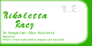 nikoletta racz business card